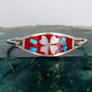 Mexican Bracelet Alpaca Silver Faux Turquoise C12
